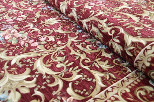 ベルギー製 ゴブラン織りラグ ボルドー